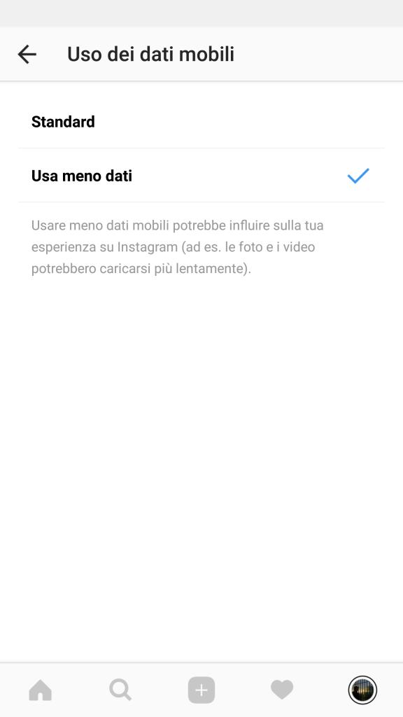 usa meno dati instagram